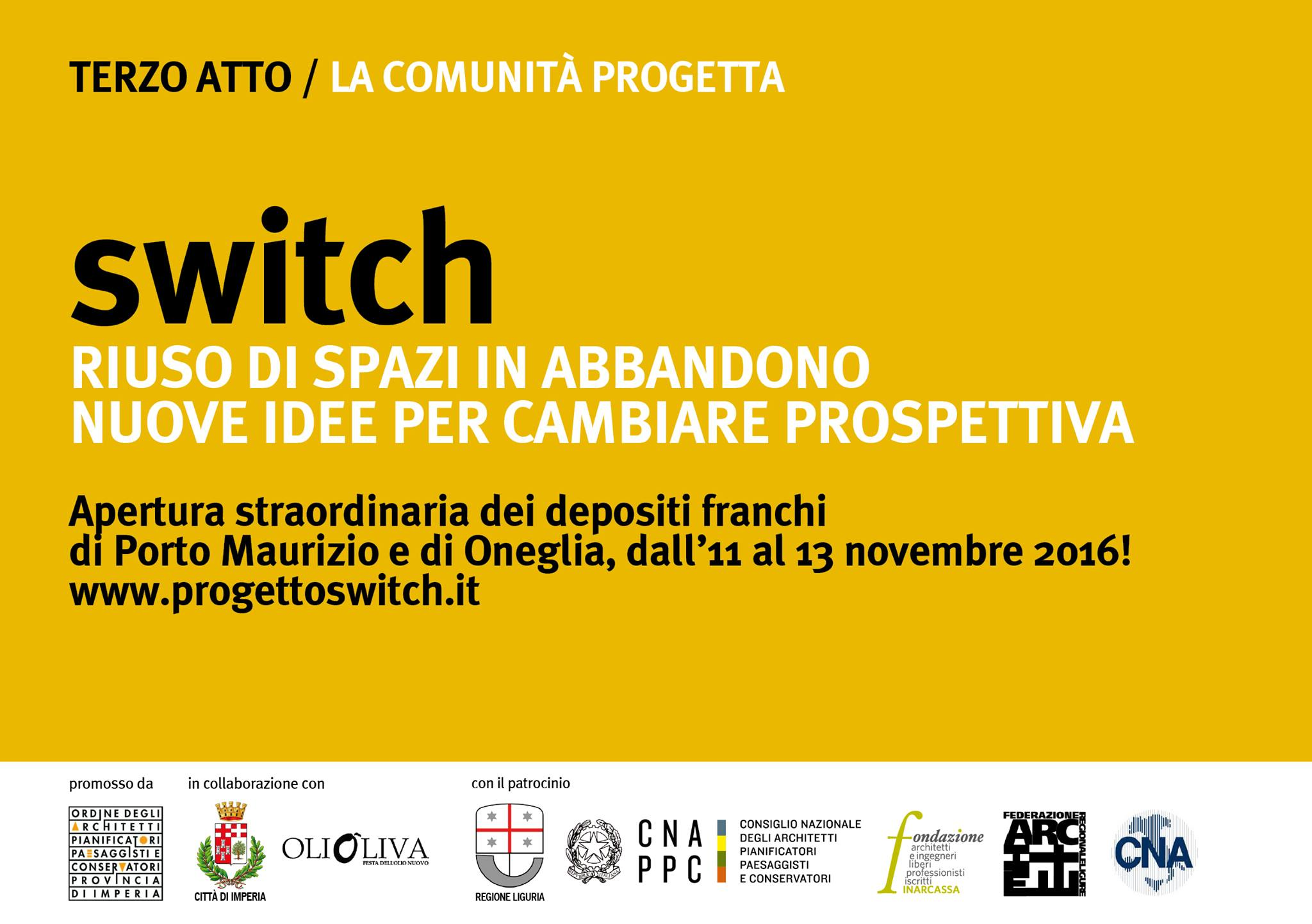 Sponsor evento Progetto Switch del 11-13 novembre 2016 - Imperia (IM)